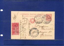 ##(DAN194)-Italy 1915-Cartolina Postale Cent.10 Mill.14 Espresso Da Gubbio (Perugia) Per Ancona - Marcofilie