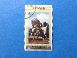 YEMEN 3 B ARTE DIPINTO QUADRO GERICAULT HORSE HELD BY SLAVES FRANCOBOLLO USATO STAMP USED - Yemen