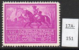 Austria 1933 WIPA Poster Stamp Reklamemarke MNH : Deep Lilac : Postman Horse Castle - Neufs