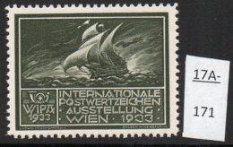 Austria 1933 WIPA Poster Stamp Reklamemarke MNH : Olive-Green : Bateau à Voiles Segelschiff Sailboat - 1918-1945 1st Republic
