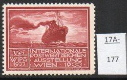 Austria 1933 WIPA Poster Stamp Reklamemarke MNH : Carmine-Brown : Steamship Mail Packet Boat - Ungebraucht