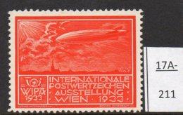 Austria 1933 WIPA Poster Stamp Reklamemarke MNH : Red-Orange : Zeppelin Church Kirche Eglise Airship - Unused Stamps