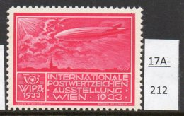 Austria 1933 WIPA Poster Stamp Reklamemarke MNH : Cerise-Red : Zeppelin Church Eglise Kirche Airship - 1918-1945 1st Republic