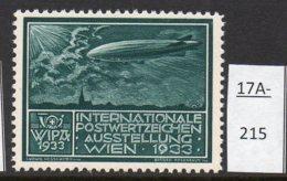 Austria 1933 WIPA Poster Stamp Reklamemarke MNH : Blue-Green : Zeppelin Dirigeable Airship Church Eglise Kirche - 1918-1945 1st Republic