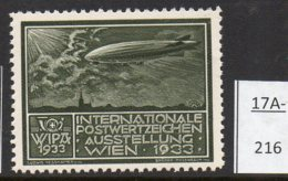 Austria 1933 WIPA Poster Stamp Reklamemarke MNH : Olive-Green : Airship Zeppelin Dirigeable Church Eglise Kirche - 1918-1945 1st Republic