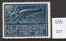 Austria 1933 WIPA Poster Stamp Reklamemarke MNH : Midnight-Blue : Zeppelin Airship Dirigeable Church Kirche Eglise - 1918-1945 1st Republic