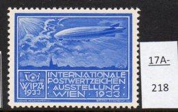 Austria 1933 WIPA Poster Stamp Reklamemarke MNH : Bright Blue : Zeppelin Dirigeable Airship Church Kirche Eglise - 1918-1945 1st Republic