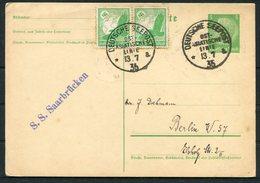 1935 Germany Deutsche Seepost Ship Stationery Postcard. Ost-Asiatische Linie. S.S SAARBRUCKEN - Briefe U. Dokumente