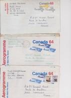 Canada 3 Aérogrammes Pour La France - Airmail