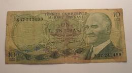 1970 - Turquie - Turkey - 10 TURK LIRASI - 14 OCAK 1970 - K37 242499 - Turquie