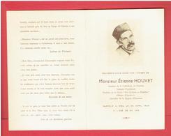 FAIRE PART DECES MONSIEUR ETIENNE HOUVET GARDIEN DE LA CATHEDRALE DE CHARTRES 1949 EN TRES BON ETAT - Décès