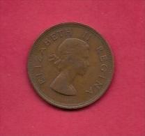 SOUTH AFRICA, 1953, Circulated Coin XF, 1 Pence, QE II, KM 46, C1433 - Zuid-Afrika