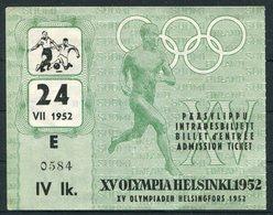1952 Finland Helsinki Olympics Ticket. Football Quarter Final, Germany 4 - Brazil 2 - Tickets - Vouchers