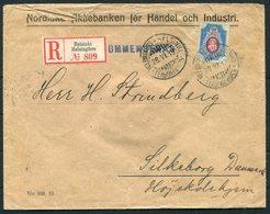 1913 Finland Registered Helsinki Bank Cover - Silkborg Denmark - 1856-1917 Amministrazione Russa
