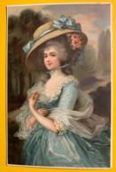 8159 -Femme  En Robe Bleur Et Chapeau - Mode