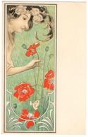 CPA - Illustrateur -  - Art Nouveau - Femme Et Coquelicots - Künstlerkarten