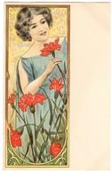 CPA - Illustrateur -  - Art Nouveau - Femme Et Oeillets Rouge - Künstlerkarten