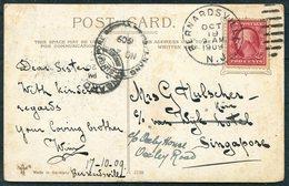 1909 USA Hotel Astor, New York Postcard. Bernardsville NJ - Singapore. Penang - Singapore Marine Sorting - United States