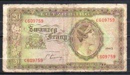 Luxembourg Billet De 20 Francs 1943 C609 Usé - Luxembourg