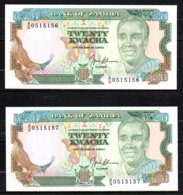 Zambie 2 Billets De 20 Kwacha 1991 AG051 Sig.9 N° Se Suivant, Neufs - Zambie
