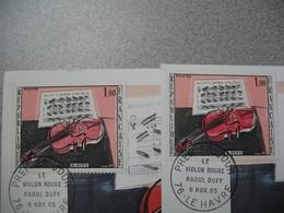 Variété Sur  N° 1459 De 1965 Sur Carte Maximum - Violon Rose Et Rouge - Errors & Oddities