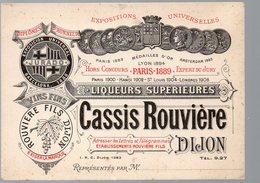 Dijon (21 Côte D'Or)  Carte Commerciale CASSIS ROUVIERE (PPP17915) - Publicités