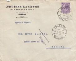 "9381-BUSTA INTESTATA ""LUIGI NANNIZZI PEDRONI""-IGLESIAS-1955 - Publicités"