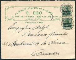 1916 Belgium G. Ego Fabrique De Meubles & Sieges Advertising Cover. Bruxelles. German Occupation Overprint - WW I