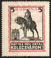 ERDÉLY Transylvania Cluj Kolozsvar - Hungary - Romania / CINDERELLA VIGNETTE LABEL - Mathias Rex KING - Horse - MNH - Transylvanie