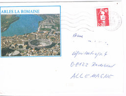Frankreich Pret A Poster PAP Brief Aus Arles Nach Radebeul; Römisches Amphitheater; Rückseite Pferde - Site Gallo Romain - France