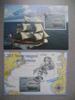 Carte Maximum (2)  2015  Hermione - Lafayette Traversée Inaugurale  St-Pierre Et Miquelon Premier Jour  22/7/2015 - Cartes-maximum