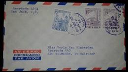 O) 1962 COSTA RICA, ARCHITECTURE-CHURCHES-BASILICA OF SANTO DOMINGO-CATHEDRAL OF TILARAN, AIRMAIL TO SALVADOR, XF - Costa Rica