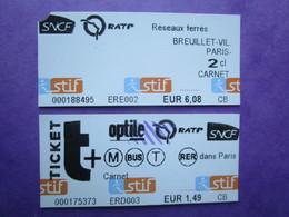 2 TICKETS  Métro Autobus Rer -  RATP - SNCF - PARIS -  2° Classe  - TBE - Subway