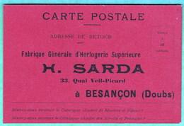 BESANCON - HORLOGERIE SARDA - CARTE COMMERCIALE FORMAT CPA - 2 SCANS - Besancon