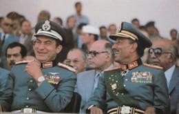 Egyptian President Anwar Sadat & Mubarak Before Assassination, C1980s Vintage Postcard - Events