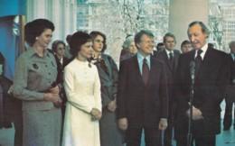 UN Secretary General Kurt Waldheim With US President Jimmy Carter At White House, C1980s Vintage Postcard - People