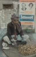 US President Jimmy Carter And Wife On Poster In India With Peanut Seller, Street Vendor, C1980s Vintage Postcard - People