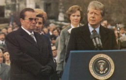 Marshall Tito Of Yugoslavia With US President Jimmy Carter, C1980s Vintage Postcard - People