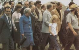 Menachem Begin & Anwar Sadat With US President Jimmy Carter At Gettysburg Battlefield, C1980s Vintage Postcard - People