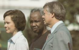 Tanzania President Julius K. Nyerere With US President Jimmy Carter, C1980s Vintage Postcard - People