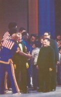 China Leader Deng Xiaoping & US President Jimmy Carter Meet Harlem Globetrotters Basketball Team C1980s Vintage Postcard - People