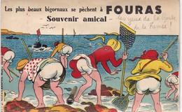 """29. FOURAS. RARETÉ. CARTE A SYSTÈME SOUFFLET 10 PHOTOS. SOUVENIR AMICAL """" LES PLUS BEAUX BIGORNAUX SE PECHENT A F...."""". - Fouras-les-Bains"""