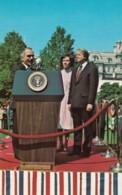 Jordan King Hussein & US President Jimmy Carter Meet April 1977, C1980s Vintage Postcard - People