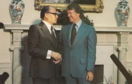 Israel Prime Minister Begin & US President Carter Meet December 1977, C1980s Vintage Postcard - People