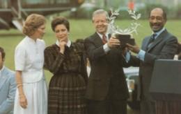 Egypt President Sadat & US President Carter Meet In Plains Georgia June 1981, C1980s Vintage Postcard - People