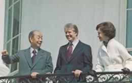 Japan Premier Fukuda & US President Carter First Lady Rosalynn Carter Meet March 1977, C1980s Vintage Postcard - People