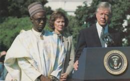 Nigeria Prime Minister Shagari & US President Carter First Lady Rosalynn Carter Meet 1980, C1980s Vintage Postcard - People