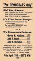 Oakland California Democrat Party Endorsement 'Get Out The Vote' When Oakland Was Republican, C1950s Vintage Postcard - Political Parties & Elections
