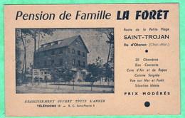 """ILE D'OLERON - SAINT TROJAN - PENSION DE FAMILLE """"LA FORET"""" - CARTE POSTALE PUBLICITAIRE - Ile D'Oléron"""