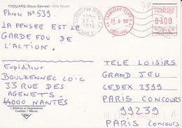 Loire Atlantique ,2 Oblitérations Mécaniques Carquefou Tertre G.A. Sur Carte De 1998 - Poststempel (Briefe)